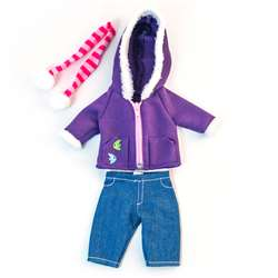 Doll Clothes Cold Weather Purple Fleece Set, MLE31637
