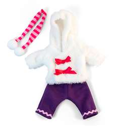 Doll Clothes Cold Weather White Fur Set, MLE31638