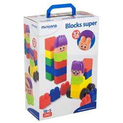 Blocks Super 32 Pcs By Miniland Educational