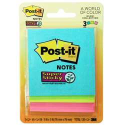 Ss Notes 3X3 45 Shts Asst Neon 3Pk By 3M