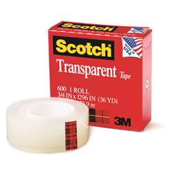 Tape Transparent Film 3/4 X 1296 By 3M