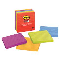 Post-It Notes Super Sticky 6 Pads Neon Fusion Colors 4 X 4 Lined By 3M