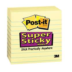 Post-It Super Sticky Notes 4X4 6Pk Lined By 3M