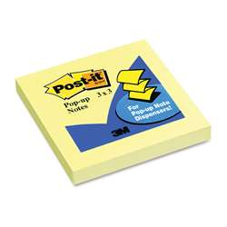 Pop Up Note Refills 3X3 Canary Yellow By 3M