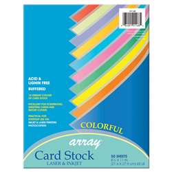 Pacon Card Stock 85X11 Colorful 50 Sheets, PAC101168