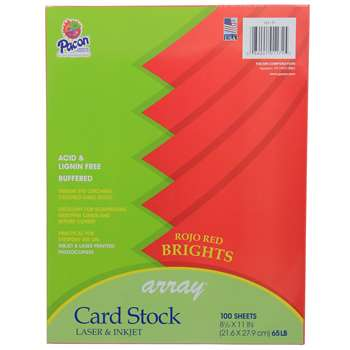 Array Card Stock Brights Rojo Red By Pacon