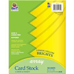 Array Card Stock Brights Lemon Yellow By Pacon