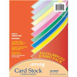 Pastel & Bright Card Stock Assrtmnt 250 Sheets, PAC101195