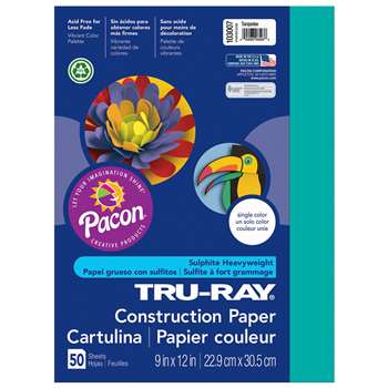 Tru-Ray Construction Paper 9 X 12 Turquoise By Pacon