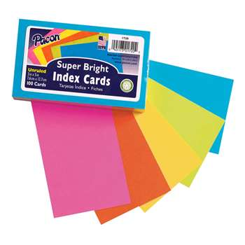 Super Bright Index Cards 3X5 Unrule, PAC1720