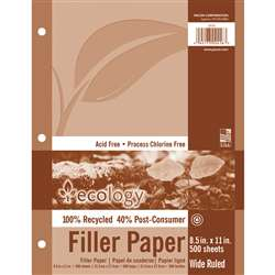 "Recycled Filler Paper Wht 500 Shts 3/8"" Ruled, PAC2416"