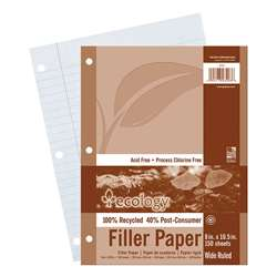 Ecology Recycled Filler Paper Pack Wide Ruled By Pacon
