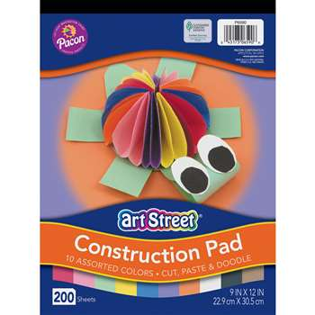 Rainbow Super Value Construction Paper 9 X 12 Pad 200 Sheets By Pacon