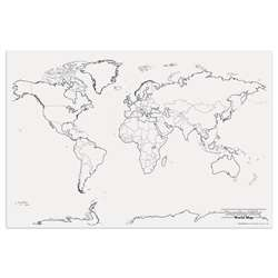 Giant World Map 48In X 72In By Pacon