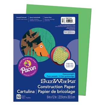 Sunworks 9X12 Bright Green 50Shts Construction Paper By Pacon