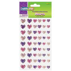 Gemstone Stickers Hearts 54 Pieces, PACAC1641