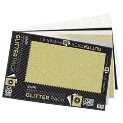 Glitter Poster Board 4 Ast Colors 5 Sheets Kit, PACCAR38228