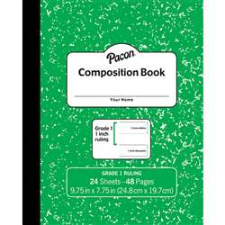 "Marble Composition Book Gr 1 Green 1"" Ruled, PACMMK37137"