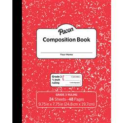 "Marble Composition Book Gr 3 Red 3/8"" Ruled, PACMMK37139"