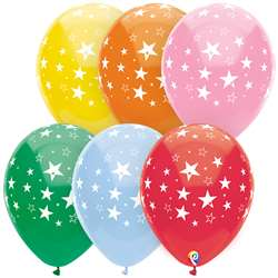 "12"" Stars All Over Balloons 8 Pack, PBN57379"