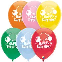 "12"" Happy Bday Balloons 2 Side 8Pk, PBN57449"