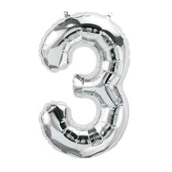 "16"" Foil Balloon Silver Number 3, PBN59087"