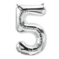 "16"" Foil Balloon Silver Number 5, PBN59091"