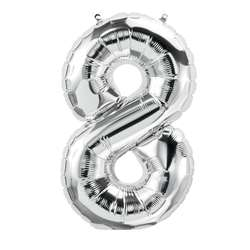 "16"" Foil Balloon Silver Number 8, PBN59097"