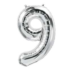 "16"" Foil Balloon Silver Number 9, PBN59099"