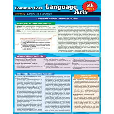 Common Core Language Arts Gr 6 Standards, QS-222743