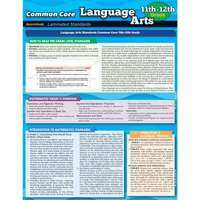 Common Core Language Arts Gr 11-12 Standards, QS-222798