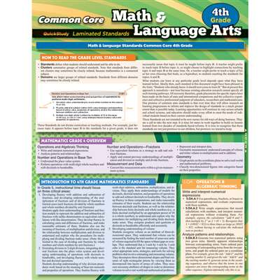 Common Core Gr 4 Math & Language Arts Standards, QS-222859