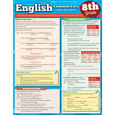English Common Core 8Th Grade Laminated Study Guide By Barcharts