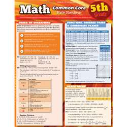 Math Common Core 5Th Grade Laminated Study Guide By Barcharts
