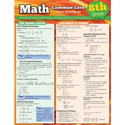 Math Common Core 8Th Grade Laminated Study Guide By Barcharts
