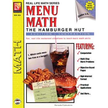 Menu Math Hamburger Hut Book-1 Add & Subtract By Remedia Publications