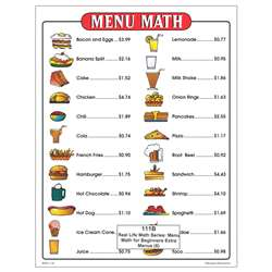 Menu Math For Beginners Extra Price Lists 6 By Remedia Publications