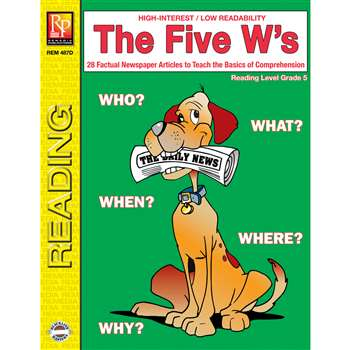 The 5 Ws 5Th Grade Reading Level By Remedia Publications