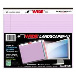 Legal Pad Landscape Assorted 3 Pack Orchid Blue An, ROA74535