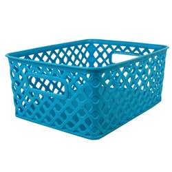 Small Turquoise Woven Basket, ROM74008
