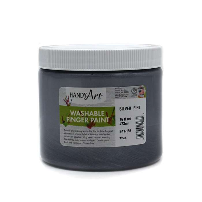 Handy Art Silver 16Oz Washable Finger Paint, RPC241166
