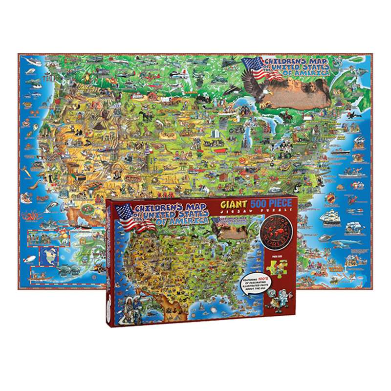 500 Pc Dinos Childrens Us Map Jigsaw Puzzle United States Map ...