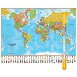 Hemispheres Laminated Map World, RWPHM01