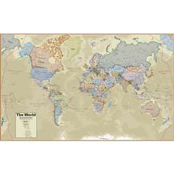 Boardroom Series World Wall Map Hemispheres Lamina, RWPHM03
