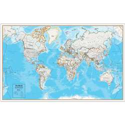Contemp Laminated Wall Map World Hemispheres, RWPHM08
