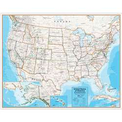 Laminated Wall Map United States Hemispheres Conte, RWPHM09