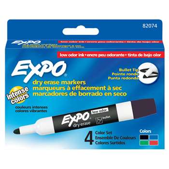 Marker Expo 2 Dry Erase 4 Clr Bull Black Red Blue Green By Newell
