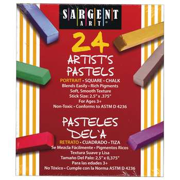 24Ct Portrait Color Artists Chalk Pastels Lift Lid Box By Sargent Art