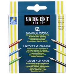 Sargent Art Half-Sized Colored Pencils 12 Color Set By Sargent Art