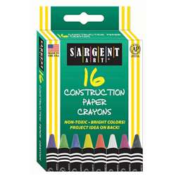 16Ct Construction Paper Crayon Standard Size Peggable Box By Sargent Art